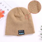 Wireless Bluetooth Smart Earphone Music Knitted Hat Winter Warm Cap with Mic Speaker for iOS Android Khaki