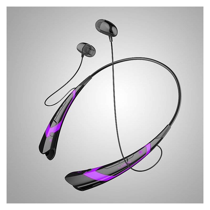 Wireless Bluetooth V4.2 + EDR Headphone Stereo Sports Headset Personality Portable Gift black+purple