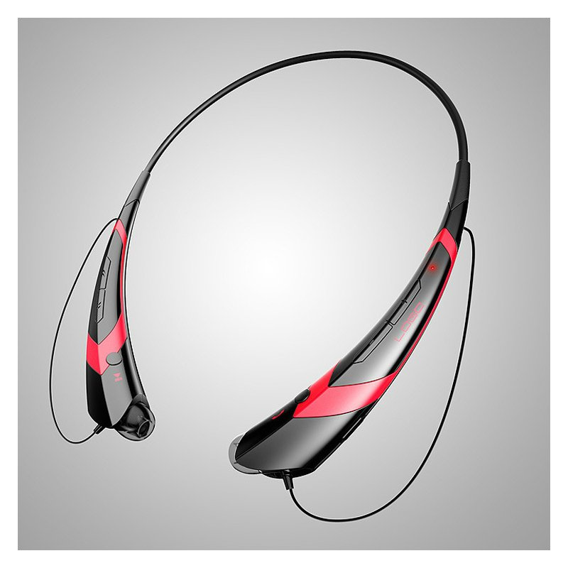 Wireless Bluetooth V4.2 + EDR Headphone Stereo Sports Headset Personality Portable Gift black+red