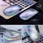 Wireless  Gaming  Mouse 2.4G Luminous Mouse For Pc Laptop Desktop Usb Recharing Silver