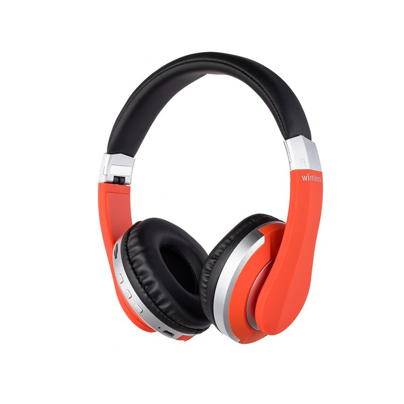 Wireless Headphones Bluetooth Headset Foldable Stereo Gaming Earphones with Microphone Support TF Card for IPad Mobile Phone red