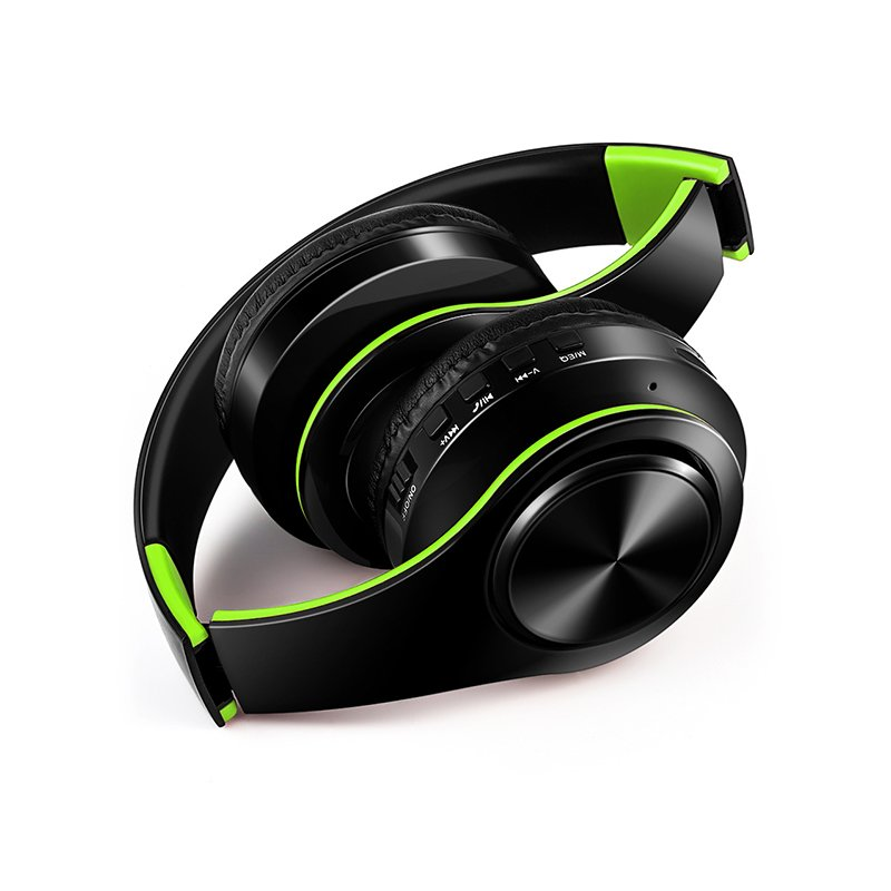 Wholesale Wireless Headphones Bluetooth Headset Foldable Headphone Adjustable Earphones With Microphone For Pc Mobile Phone Mp3 Green Black From China