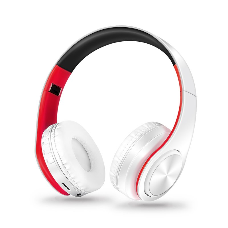 Wholesale Wireless Headphones Bluetooth Headset Foldable Headphone Adjustable Earphones With Microphone For Pc Mobile Phone Mp3 Red And White From China