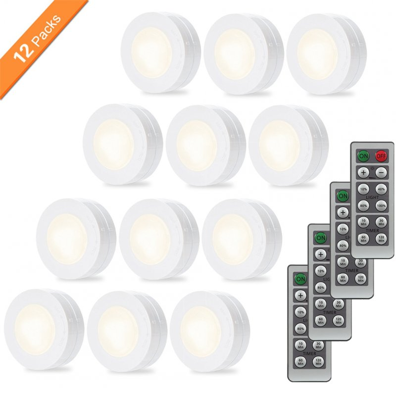 Wireless LED Puck Light Set with Dimmer Timer