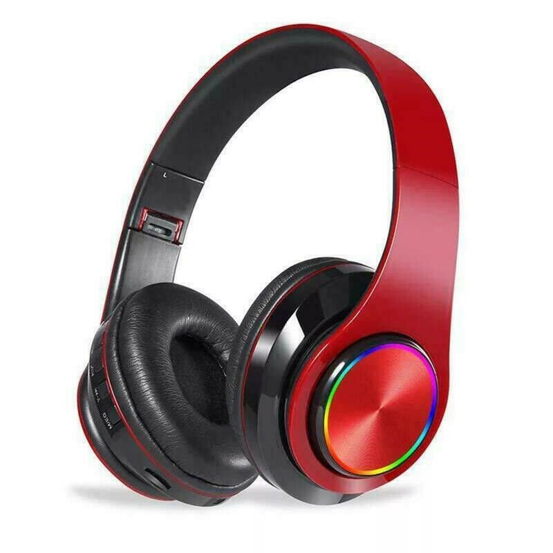 Wireless Luminous Headphones Bluetooth V5.0 Earphones Over-Ear Stereo Super Bass Headset with Microphone red