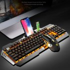 Wireless Mechanical Keyboard And Mouse Game Set Rechargeable With Backlight For Gaming Metal gray yellow light