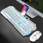 Wireless Mechanical Keyboard And Mouse Game Set Rechargeable With Backlight For Gaming white ice blue light