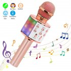 Wireless Microphone Karaoke Portable Bluetooth Speaker Home KTV Player with LED Dancing Lights Rose gold