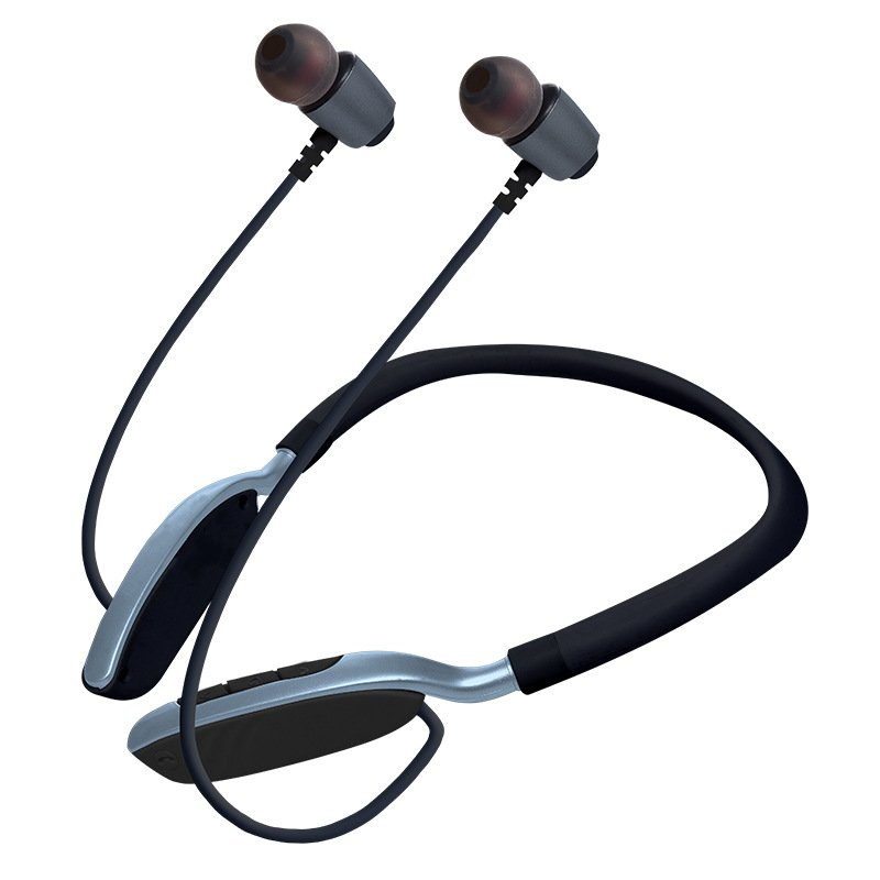Wireless Sports Bluetooth Earphone Hanging Neck Card Stereo Sports Bluetooth Headset Dark gray