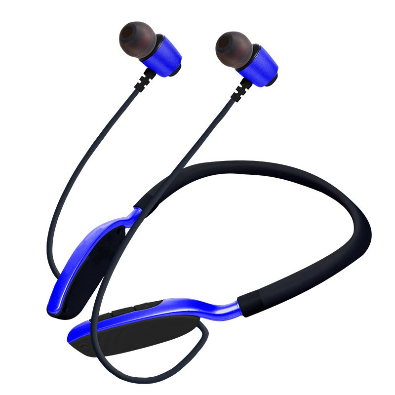 Wireless Sports Bluetooth Earphone Hanging Neck Card Stereo Sports Bluetooth Headset blue