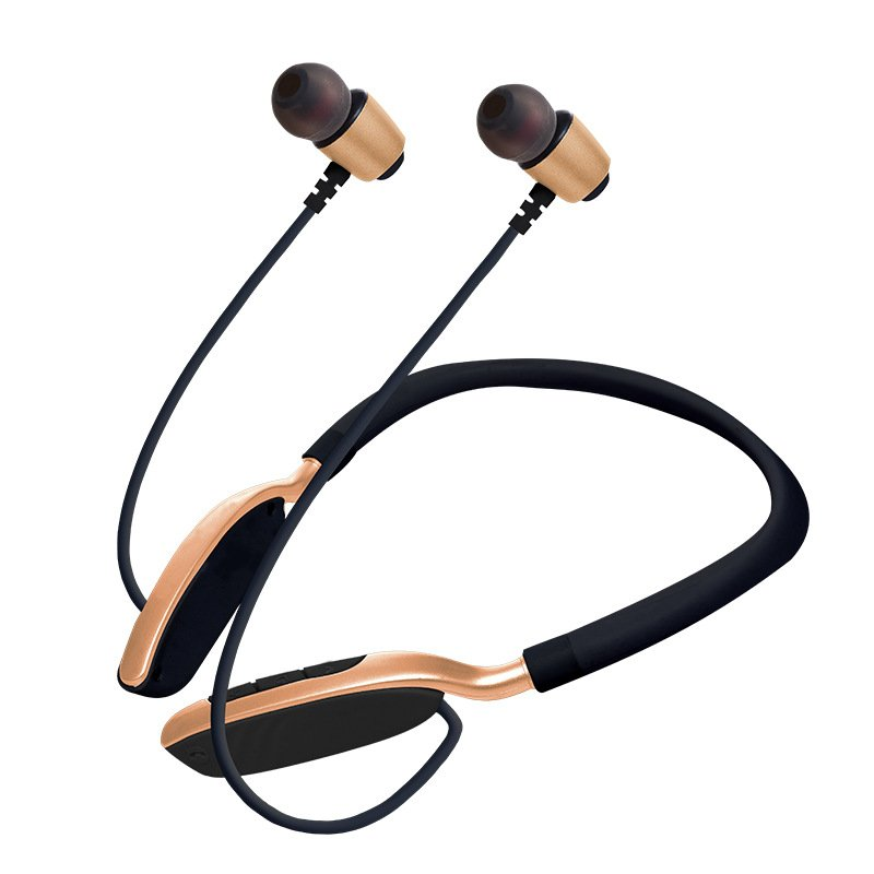 Wireless Sports Bluetooth Earphone Hanging Neck Card Stereo Sports Bluetooth Headset Golden
