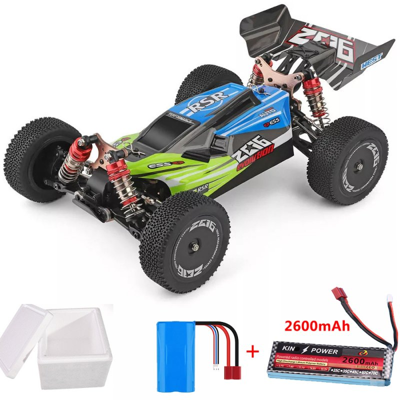 Wltoys 144001 1/14 2.4G 4WD High Speed Racing RC Car Vehicle Models 60km/h 7.4V 2600mAh Battery green