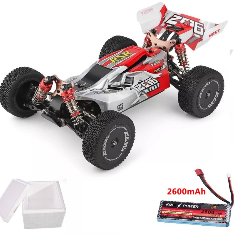 Wltoys 144001 1/14 2.4G 4WD High Speed Racing RC Car Vehicle Models 60km/h upgrade battery 7.4V 2600mAh red