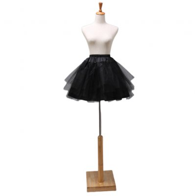 Woman Cosplay Maid Outfit Delicate Tulle Short Boneless Wedding Dress Petticoat black_45cm