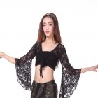 Woman Dance Clothes Lace Long Sleeves Belly Dance Tops Flared Sleeves Shawl  black Free size