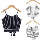 Woman Fashion Casual Deep V Collar Striped Strap Tie Sleeveless Backless Sling Tops Vest