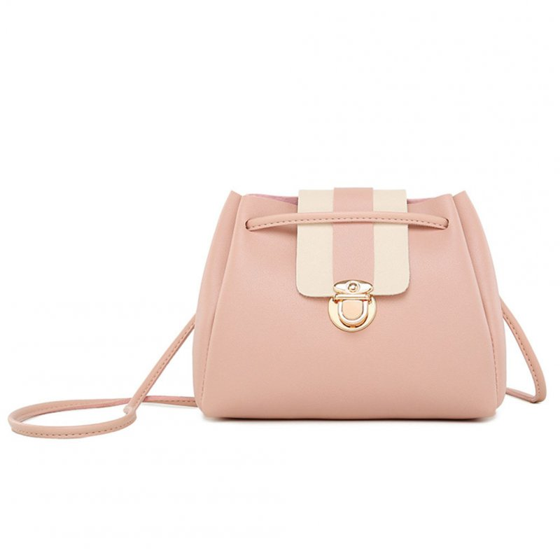Woman Fashion Crossbody Bag Lock Buckle Drawstring Bucket Bag Pink
