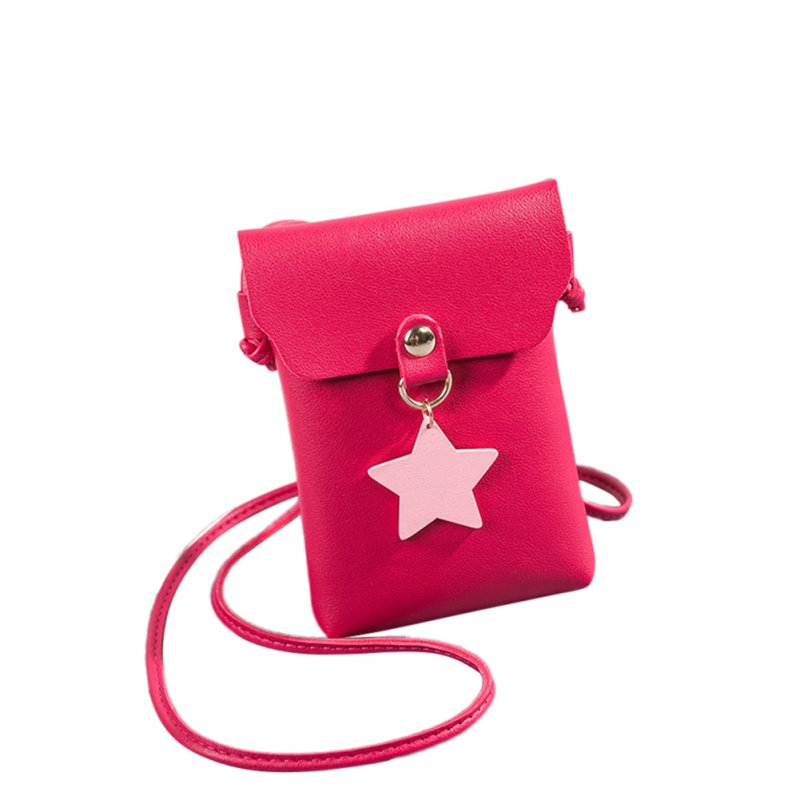 Woman Fashion Mini Casual Shoulder Pouch Star Pendant Stylish Satchel Vertical red