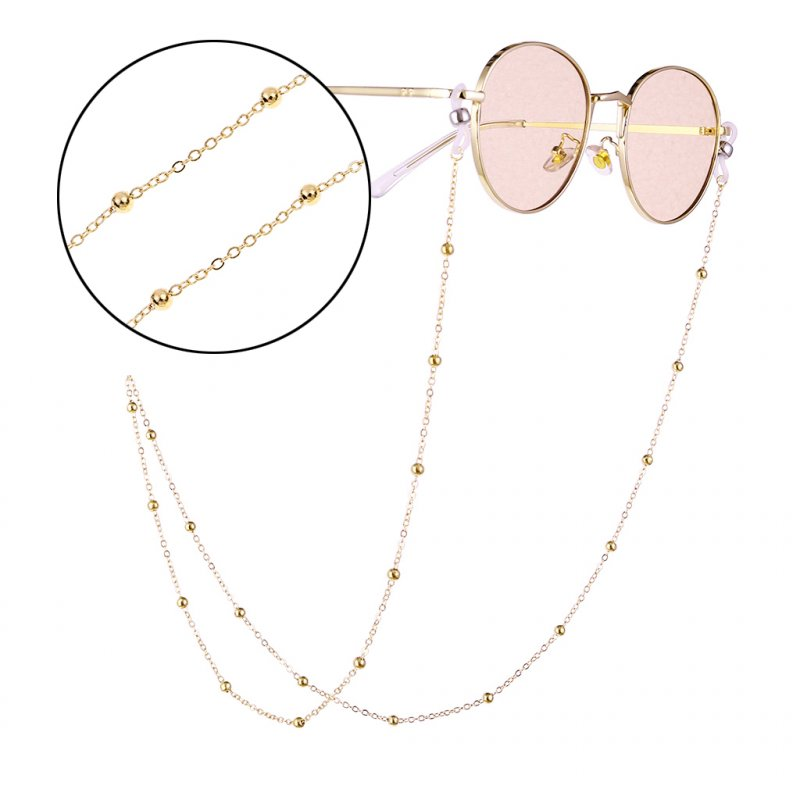 Woman Fashion Round Beaded Anti-slip Eyeglasses Chain Gold