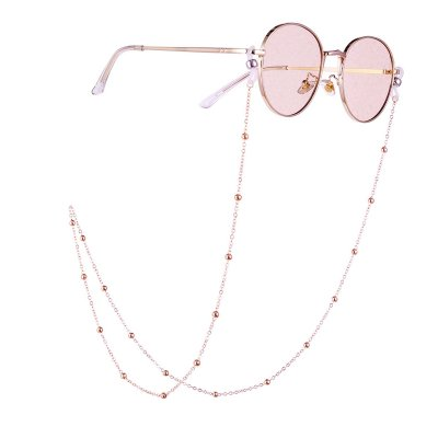 Woman Fashion Round Beaded Anti-slip Eyeglasses Chain Rose gold