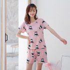 Woman Fashion Short Sleeves Cute Pattern Printing Homewear Suit #B Scarf Rabbit Pink_M