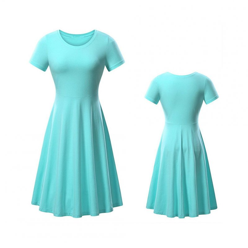 Woman Fashionable  Loose Pure Color  Short Sleeve Round-collar Simple Comfortable Dress Light blue_M