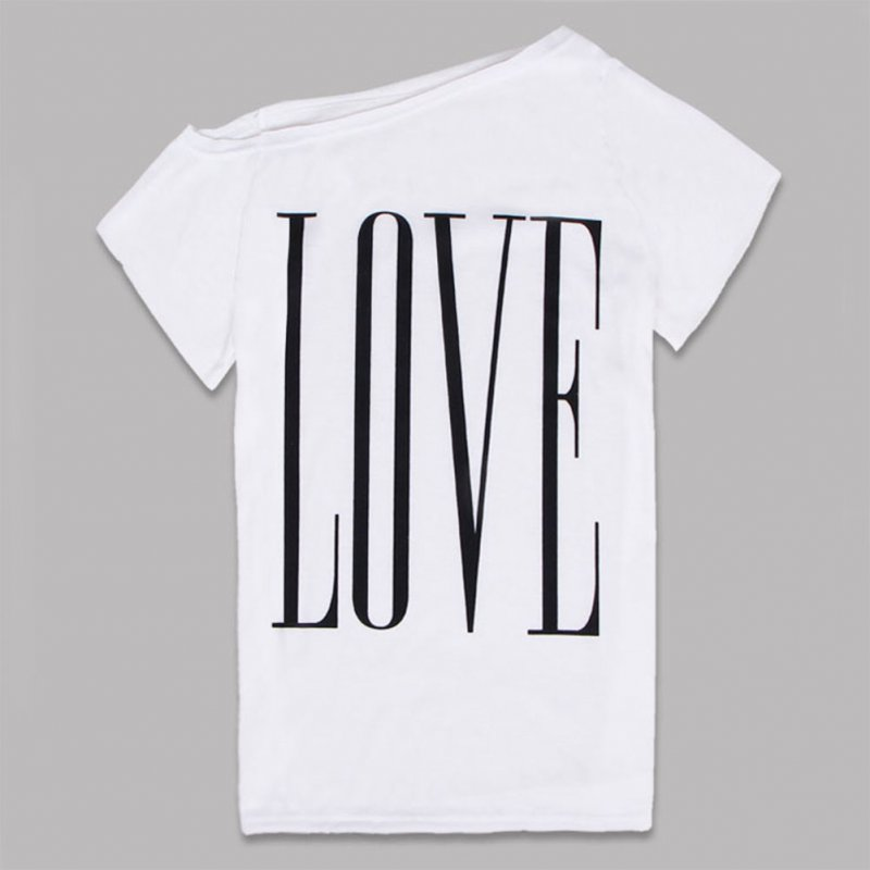 Woman Large Round Collar Short Sleeves LOVE Letters Printing T-shirt white_L