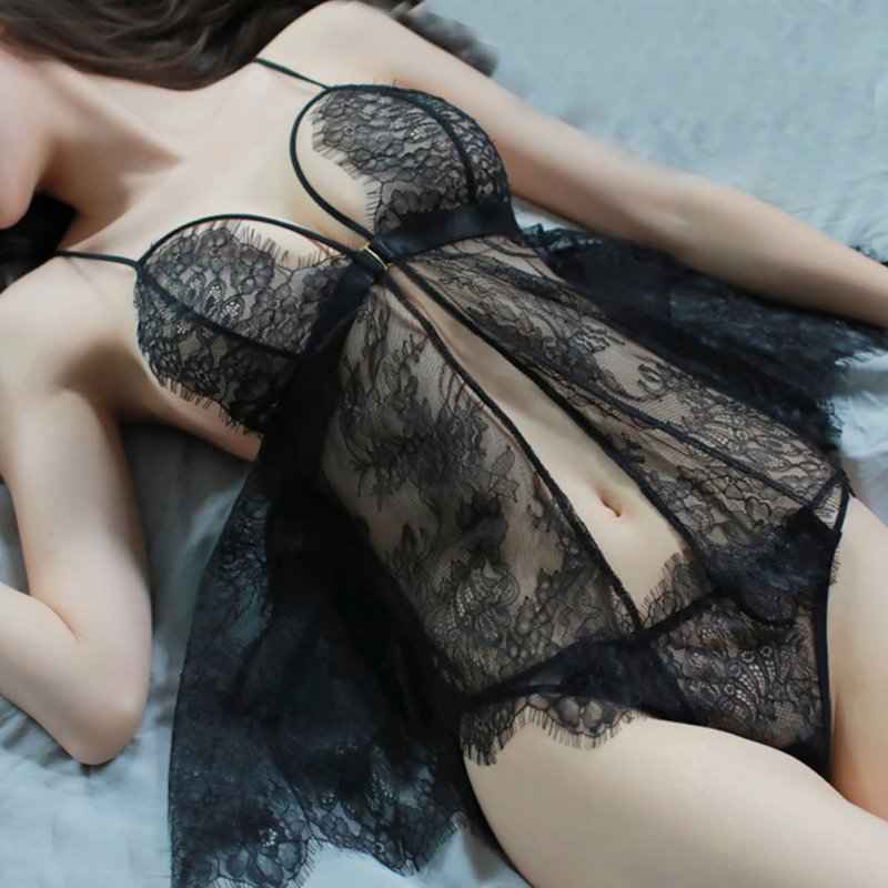 Woman Sexual Front Button Front Opening Deep V Collar Lace Sling Nightdress + Underwear Sexy Underwears Suit  black_Free size