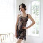 Woman Sexual Front See-through Lace Sling Nightdress + Underwear Sexy Underwears Suit  black_Free size