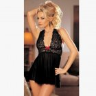 Woman Sexy Halterneck Lace Brim Large Size See-through Sexy Underwear black_Free size