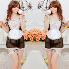 Woman Sexy Underwear Suit Lace Brim Large Size Maid See-through Sexy Underwear As shown_One size