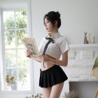 Woman Sexy Uniform Underwear Suit White Shirt + Mini Skirt Lady Sexual Clothes Black and white_Free size