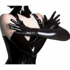 Woman Shiny Sexy Patent Leather Long Rubber Latex Gloves black_One size