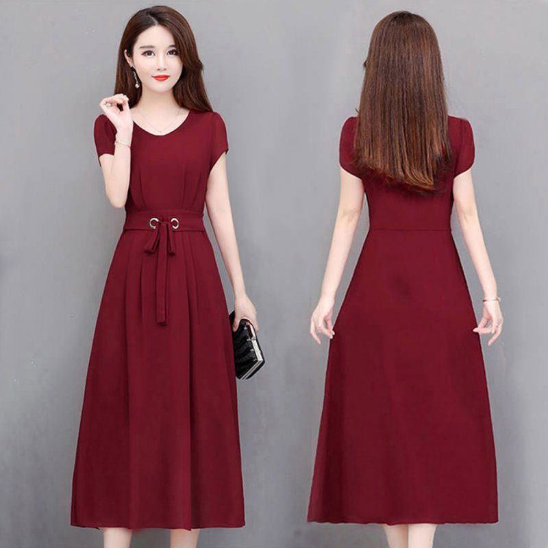 Woman Summer Pure Color Short Sleeves Mid-length Waisted Lace-up Dress Wine red_XL
