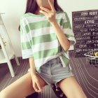 Woman Summer Stripe Short Sleeves Loose Lady Tops   T-shirt green_XL