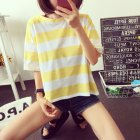 Woman Summer Stripe Short Sleeves Loose Lady Tops   T-shirt yellow_XL