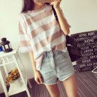 Woman Summer Stripe Short Sleeves Loose Lady Tops   T-shirt  Pink_2XL