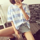 Woman Summer Stripe Short Sleeves Loose Lady Tops   T-shirt Light blue_XL