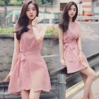 Woman Sweet Lace-up Pure Color Loose  Irregular Sleeveless A-line Dress Pink_S