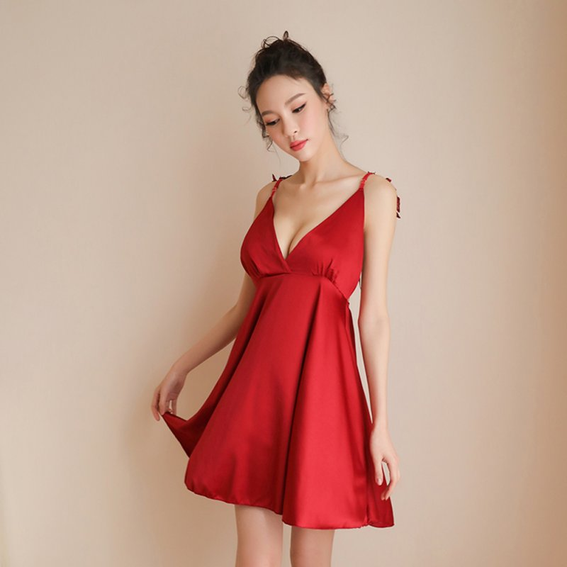 Woman Wings Sling Dress Sexy Underwears Suit Gauze See-through  Backless Sexy Nightdress red_Free size