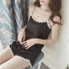 Women 2pcs/set Sexy Imitated Silk Suspenders Tops + Shorts Home Wear