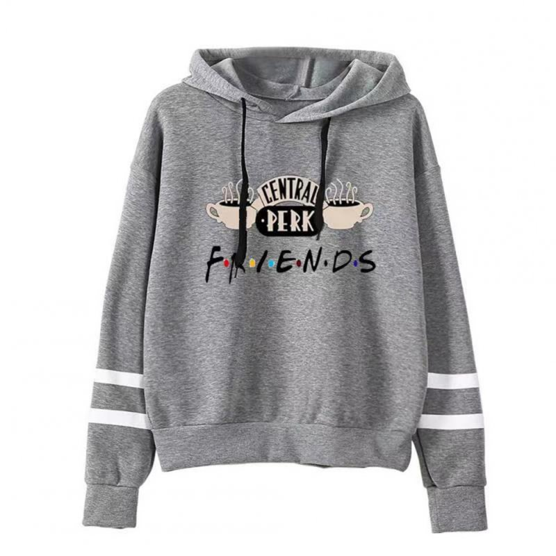 Women Autumn Winter American Drama FRIENDS Long Sleeve Striped Print Hoodie gray_M