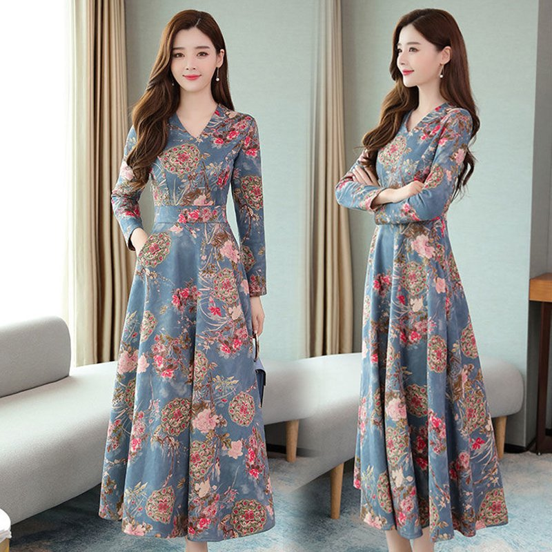 Women Autumn Winter Long Dress V- Neck Printing Floral Slim Waist Long Sleeve Dress Blue pink_2XL