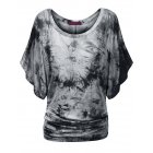 Women Bat Short Sleeve Dolman Drape with Side Shirring Loose Fit T Shirt Grey White S
