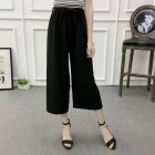 Women Black High Elastic Waist Ninth Loose Pants for Summer Wear black_One size