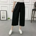 Women Black High Elastic Waist Ninth Loose Pants for Summer Wear Chinese square_One size