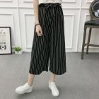 Women Black High Elastic Waist Ninth Loose Pants for Summer Wear Thin strip_One size