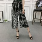 Women Black High Elastic Waist Ninth Loose Pants for Summer Wear Watermelon strip_One size