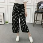 Women Black High Elastic Waist Ninth Loose Pants for Summer Wear Wave point_One size