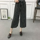 Women Black High Elastic Waist Ninth Loose Pants for Summer Wear Wave strip_One size